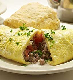Corn beef hash and mozzarella omelet